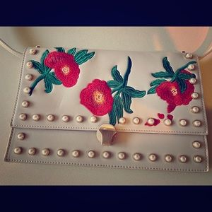 Topshop embroidered clutch purse with strap